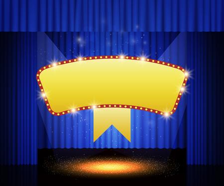 Banner retro brillante en el telón del escenario. Ilustración vectorial