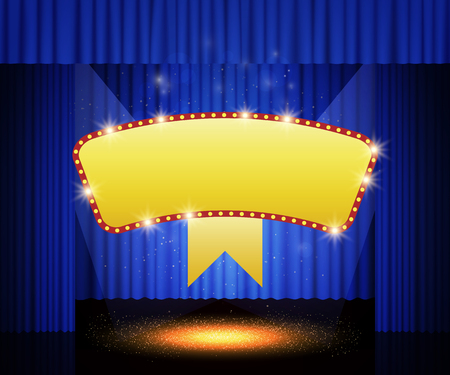 Shining retro banner on stage curtain. Vector illustration