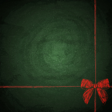Blank green chalkboard background with drawing red bow. Vector illustration Reklamní fotografie - 102336310