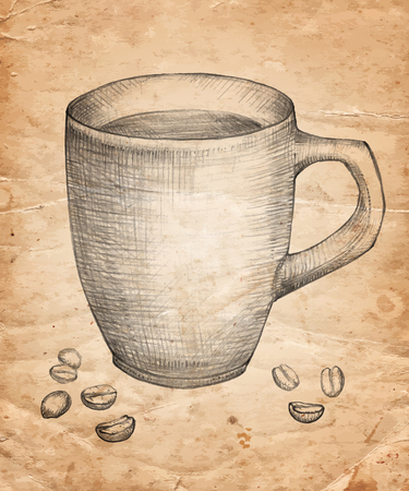 Hand drawn Cup of coffee with coffee beans on old paper background. Vector illustration Vettoriali