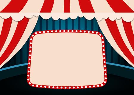 Plantilla de cartel con banner de circo retro. Diseño para presentación, concierto, espectáculo. Ilustración vectorial
