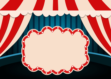 Poster Template with retro circus banner. Design for presentation, concert, show. Vector illustration