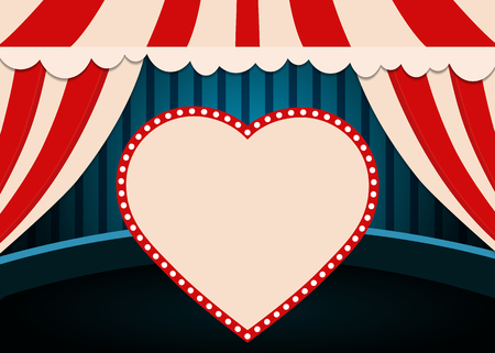 Poster Template with retro heart circus banner. Design for presentation, concert, show. Vector illustration