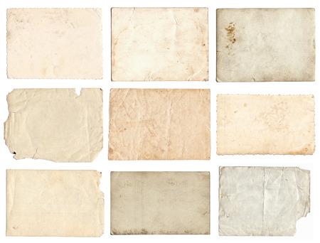 Set of various retro old photos isolated on white background
