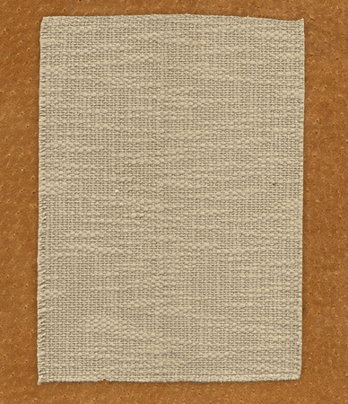 Fabric linen textile on the leather texture background