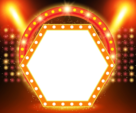 Retro banner on stage with spotlight effect background. Vector illustration