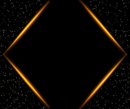 Fondo de lujo negro y dorado. Diseño para presentación, concierto, espectáculo. Ilustración vectorial