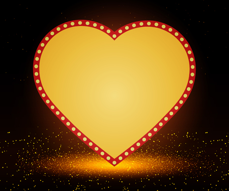 Retro heart banner on stage with spotlight effect background. Vector illustration