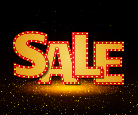 Sale banner on stage with spotlight effect background. Vector illustration