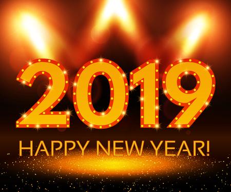 Happy 2019 New Year Flyer. Christmas Greeting Card. Vector illustration Ilustracja