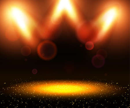 Shining abstract background with golden glow on dust. Vector illustration Ilustracja