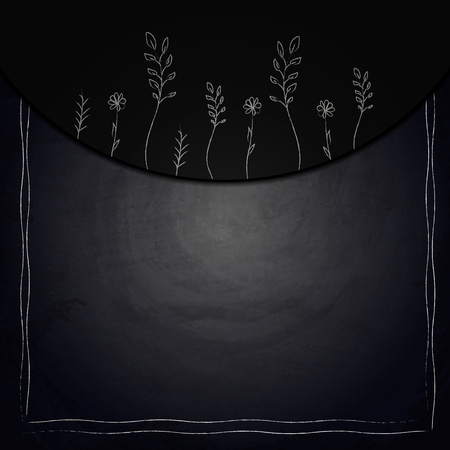 Chalkboard background with drawing plants. Vector illustration