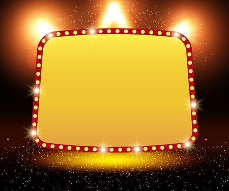 Poster Template banner with podium and spotlights. Design for presentation, banner, concert, show. Vector illustration