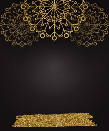 Christmas background with shining gold snowflakes. Vector illustration