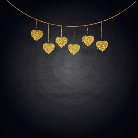 Drawing bunting golden hearts on blackboard. Valentine day illustration