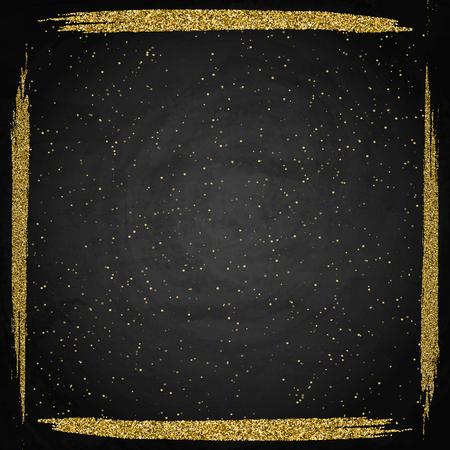 Template for business greeting offer card. Gold shining frame on blackboard. Vector illustration
