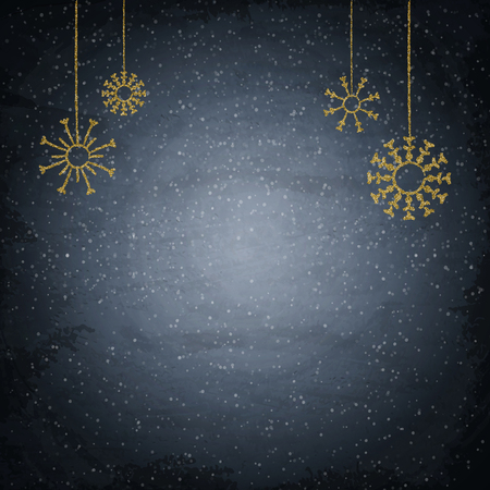 Christmas chalkboard background with golden snowflakes. Vector illustration