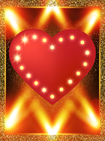 Valentines Day background with golden heart on luxury red texture. Vector illustration