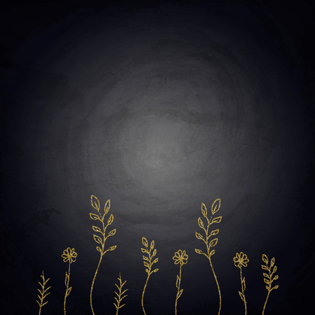 Chalkboard background with drawing golden plants. Vector illustration