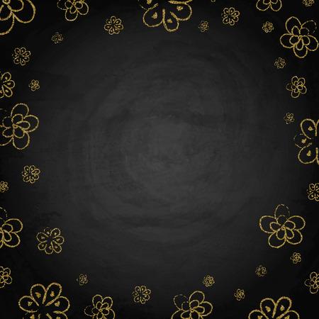 Fiori dorati disegnati a mano sul fondo della lavagna della lavagna. Illustrazione vettoriale