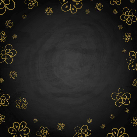 Handdrawn golden flowers on blackboard chalkboard background. Vector illustration