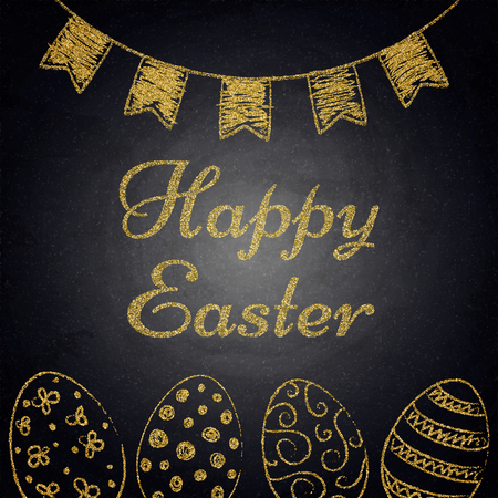 Easter background with golden eggs and hanging decor on chalkboard. Vector illustration Ilustracja