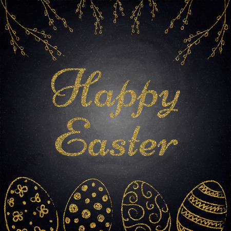 Easter background with golden eggs and willow branches on chalkboard. Vector illustration Zdjęcie Seryjne - 121618221