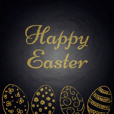 Easter background with golden eggs on chalkboard. Vector illustration