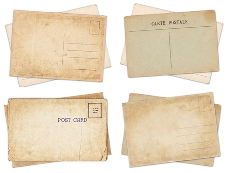 Set of various old vintage postcards isolated on white background Zdjęcie Seryjne - 121618305