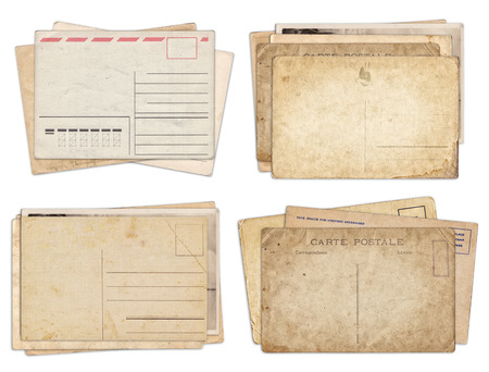 Set of various old vintage postcards isolated on white background Zdjęcie Seryjne - 121618358