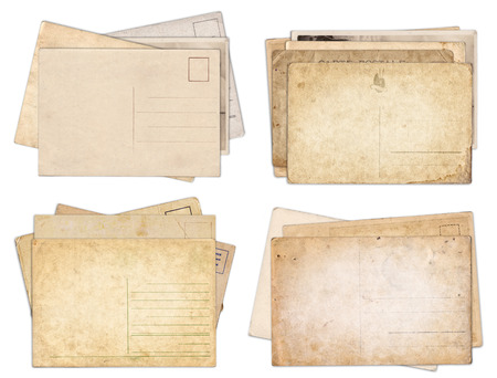 Set of various old vintage postcards isolated on white background Zdjęcie Seryjne - 121618363