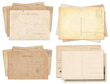 Set of various old vintage postcards isolated on white background Zdjęcie Seryjne - 121618368