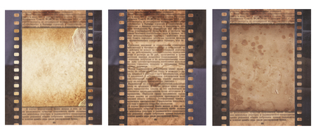 Set of various Old Vintage background with retro newspaper and old film strip isolated on white