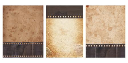Conjunto de varios antecedentes antiguos de época con papel retro y tira de película antigua aislado en blanco