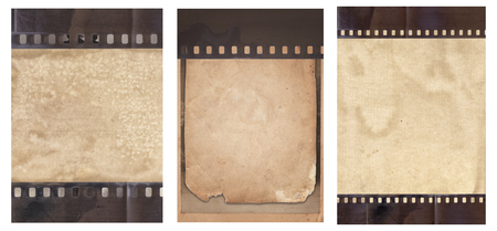 Set of various Old Vintage background with retro paper and old film strip isolated on white