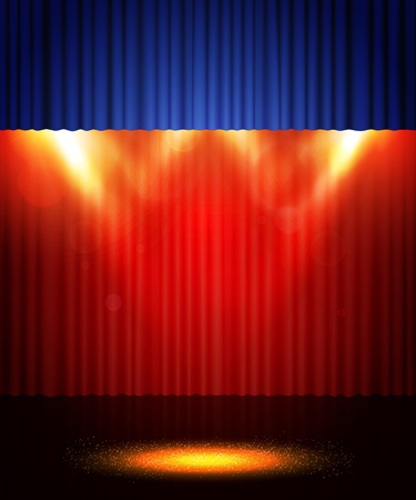Empty theatre stage with red and blue curtain. Background for show, presentation, concert, design Ilustracja