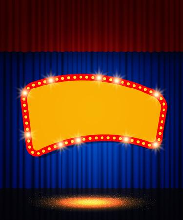 Bannière rétro brillante sur rideau de scène. Illustration vectorielle