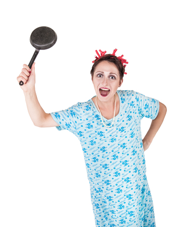 Crazy angry housewife with pan isolated on white Фото со стока - 121502503