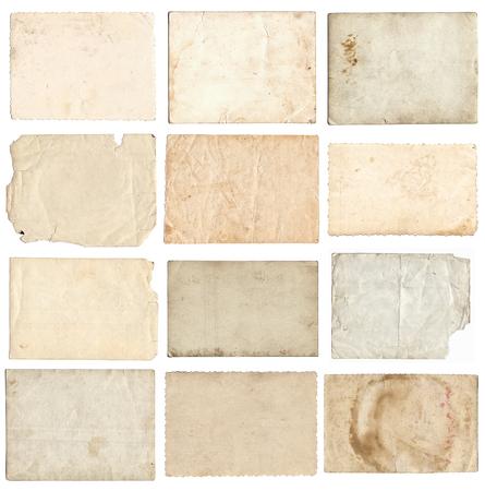 Satz verschiedene alte Retro-Fotos lokalisiert auf weißem Hintergrund Standard-Bild