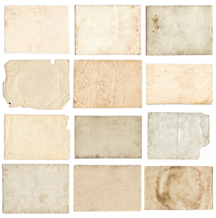 Set van verschillende retro oude foto's geïsoleerd op een witte achtergrond Stockfoto
