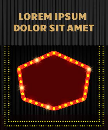 Shining retro banner on black stage curtain. Vector illustration Zdjęcie Seryjne - 122452841