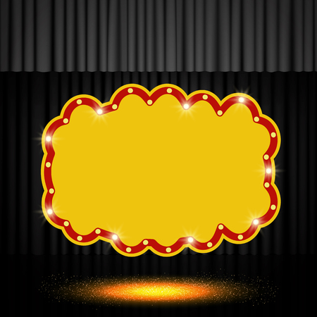 Shining retro banner on black stage curtain. Vector illustration Zdjęcie Seryjne - 122077616