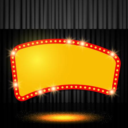 Shining retro banner on black stage curtain. Vector illustration Zdjęcie Seryjne - 122452843