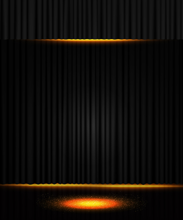 Background with black curtain. Design for presentation, concert, show. Vector illustration Zdjęcie Seryjne - 122765883