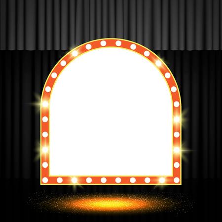 Shining retro banner on black stage curtain. Vector illustration Zdjęcie Seryjne - 122452844