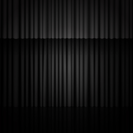 Background with black curtain. Design for presentation, concert, show. Vector illustration Vettoriali