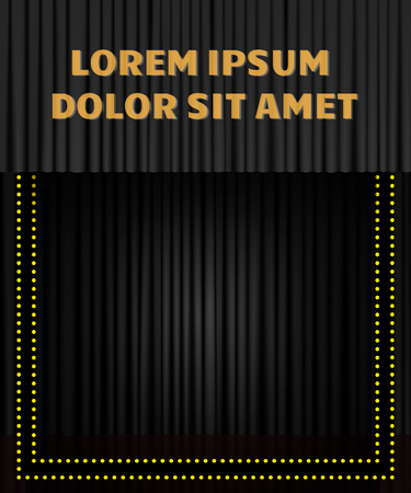 Background with black curtain. Design for presentation, concert, show. Vector illustration Zdjęcie Seryjne - 122765889