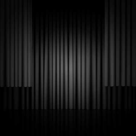 Background with black curtain. Design for presentation, concert, show. Vector illustration Ilustracja