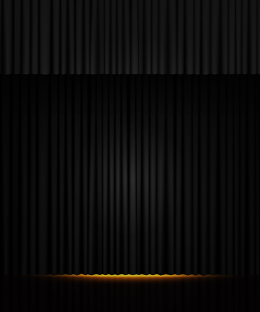 Background with black curtain. Design for presentation, concert, show. Vector illustration Zdjęcie Seryjne - 122765893