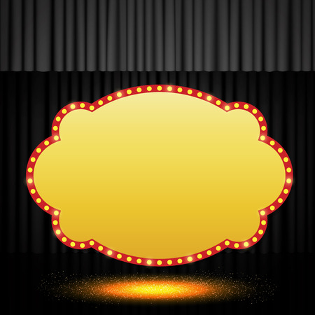 Shining retro banner on black stage curtain. Vector illustration Zdjęcie Seryjne - 122452848
